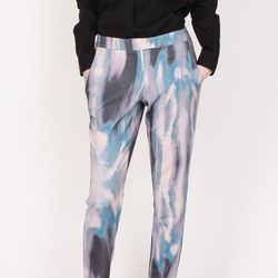 """<a href=""""http://shoppenelopes.com/collections/w-sale/products/watercolor-pants"""">Funktional Illusion Print Pants</a>, now $59 (was $125)"""