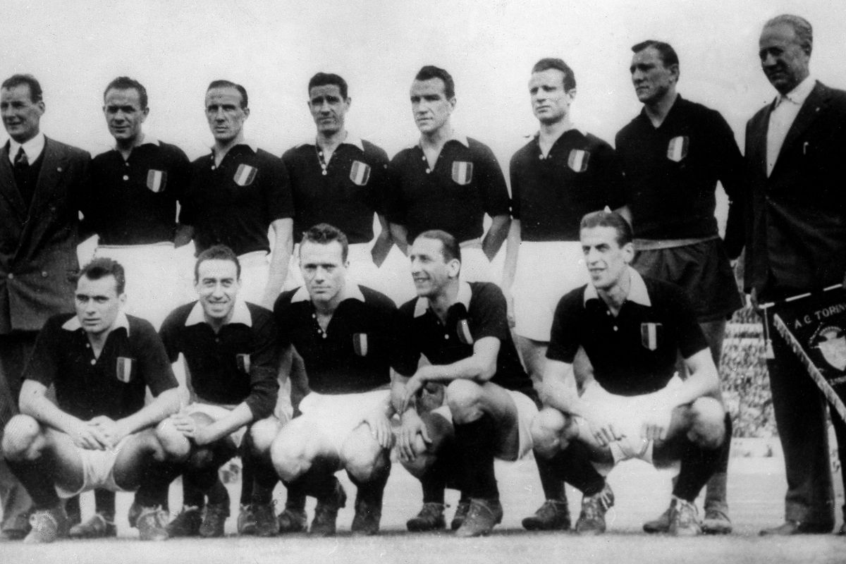 """Superga air disaster, On May 4, 1949, a Fiat G-212 plane carrying almost the entire Torino A.C. football squad popularly known as """"Il Grande Torino"""" crashed into the hill of Superga near Turin killing all 31 aboard including 18 players, club official"""