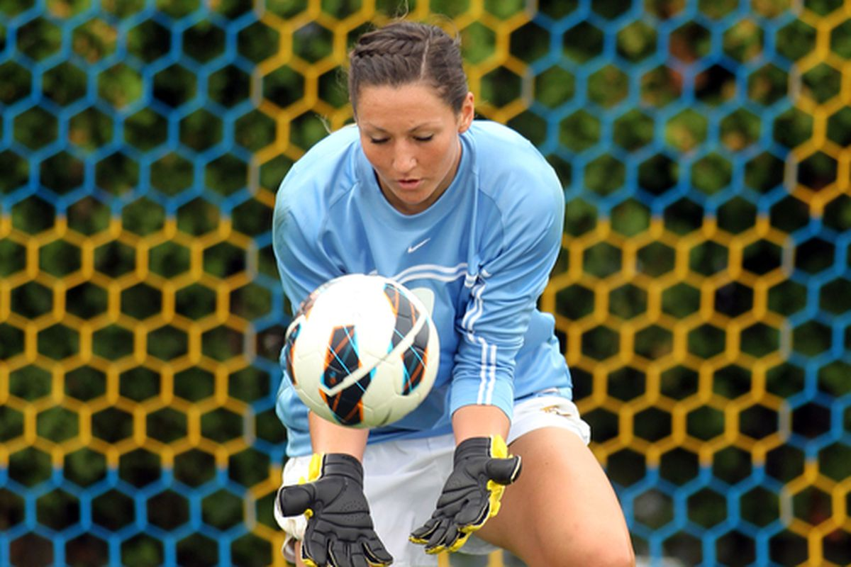 Goalkeeper Amanda Engel made five saves to keep the match level until the 82nd minute.