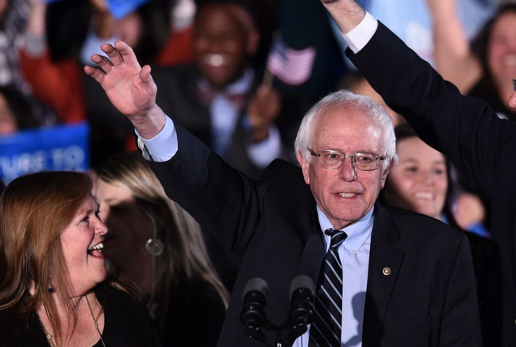 U.S. Sen. Bernie Sanders, D-Vt., waves during the primary night rally in Concord, New Hampshire, on February 9, 2016.  <br>Jewel Samad/AFP/Getty Images