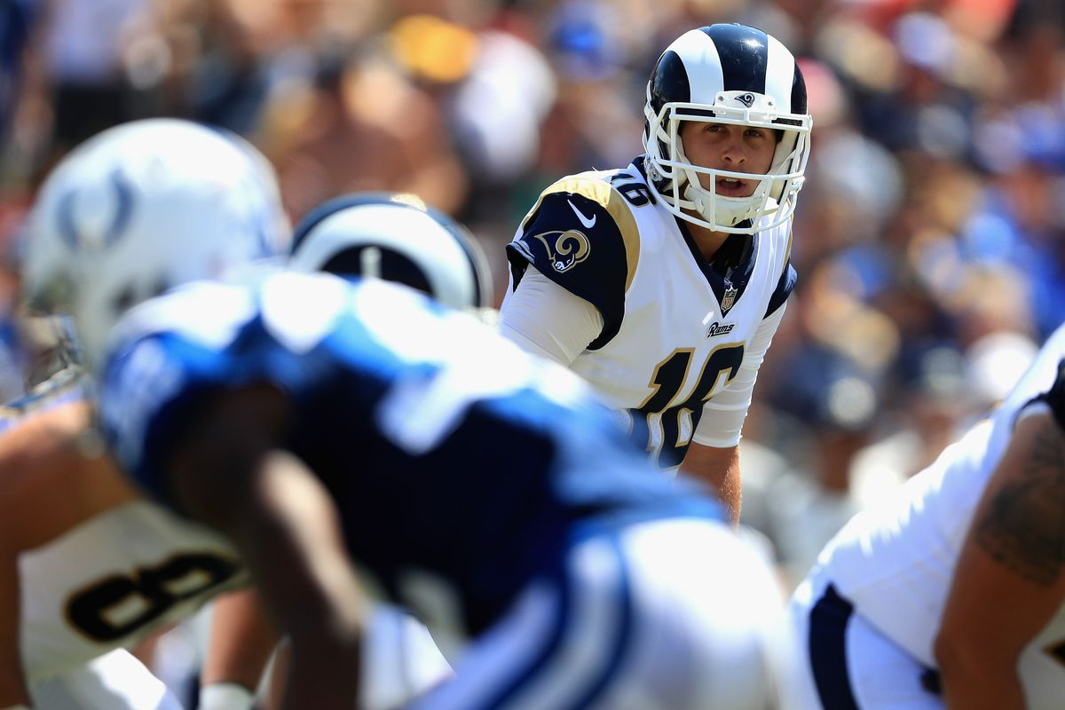 Los Angeles Rams QB Jared Goff at the line of scrimmage against the Indianapolis Colts, Sep. 10, 2017.