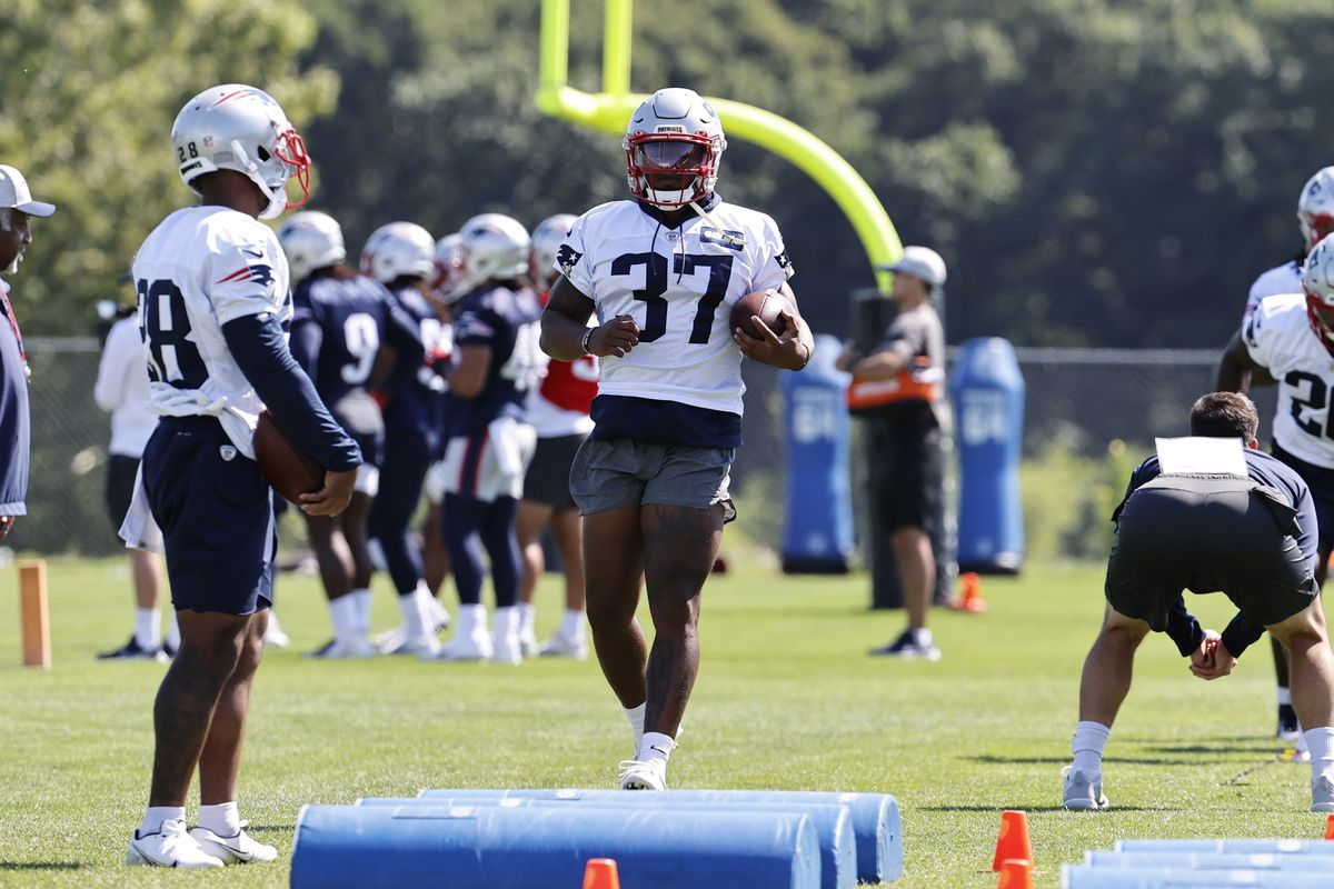 New England Patriots running back Damien Harris (37) runs a drill during New England Patriots training camp on July 31, 2021 at Gillette Stadium in Foxborough, Massachusetts.
