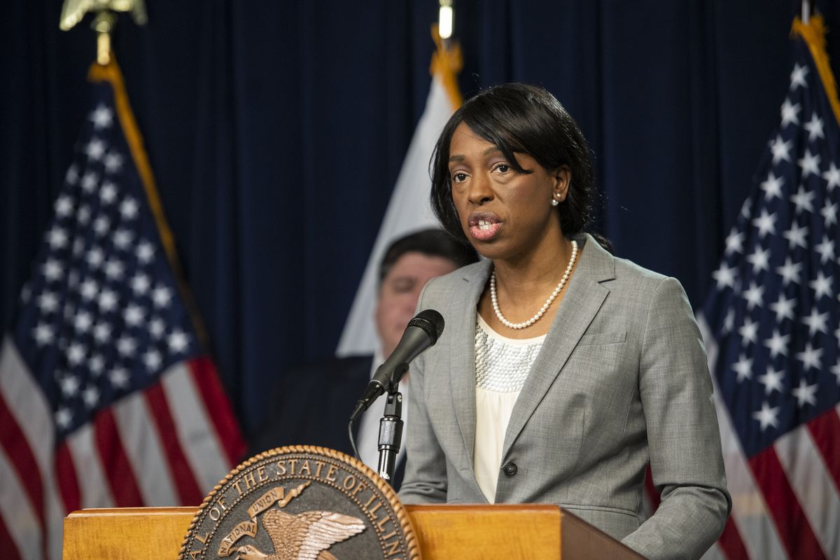 Illinois Public Health Director Dr. Ngozi Ezike speaks at an April 23 news briefing.