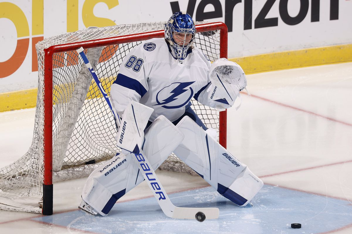 Goaltender Andrei Vasilevskiy of the Tampa Bay Lightning warms up prior to an NFL preseason game against the Florida Panthers at the FLA Live Arena on October 9, 2021 in Sunrise, Florida.