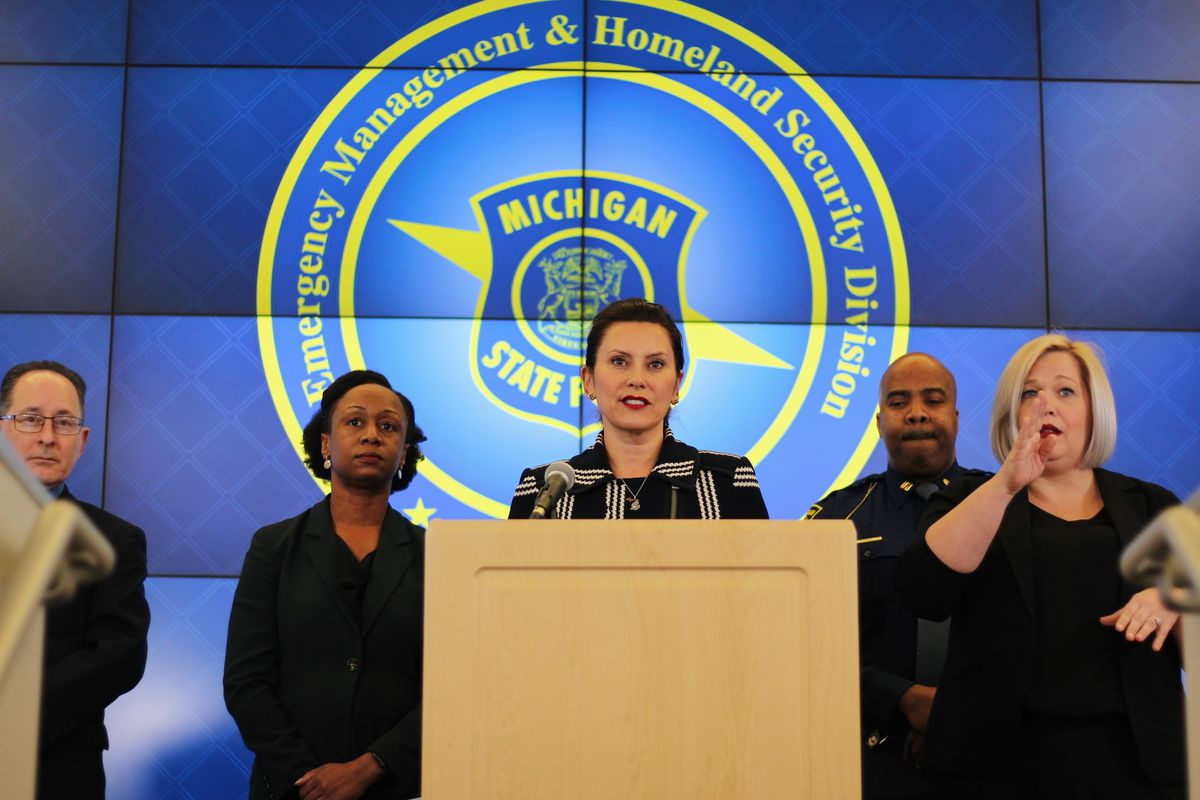 Gov. Gretchen Whitmer addressed the media during a press conference in which she announced the closure of all K-12 schools in the state.