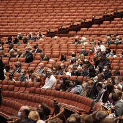 Attendees are seated in the Conference Center during the 191st Semiannual General Conference of The Church of Jesus Christ of Latter-day Saints in Salt Lake City on Saturday, Oct. 2, 2021.