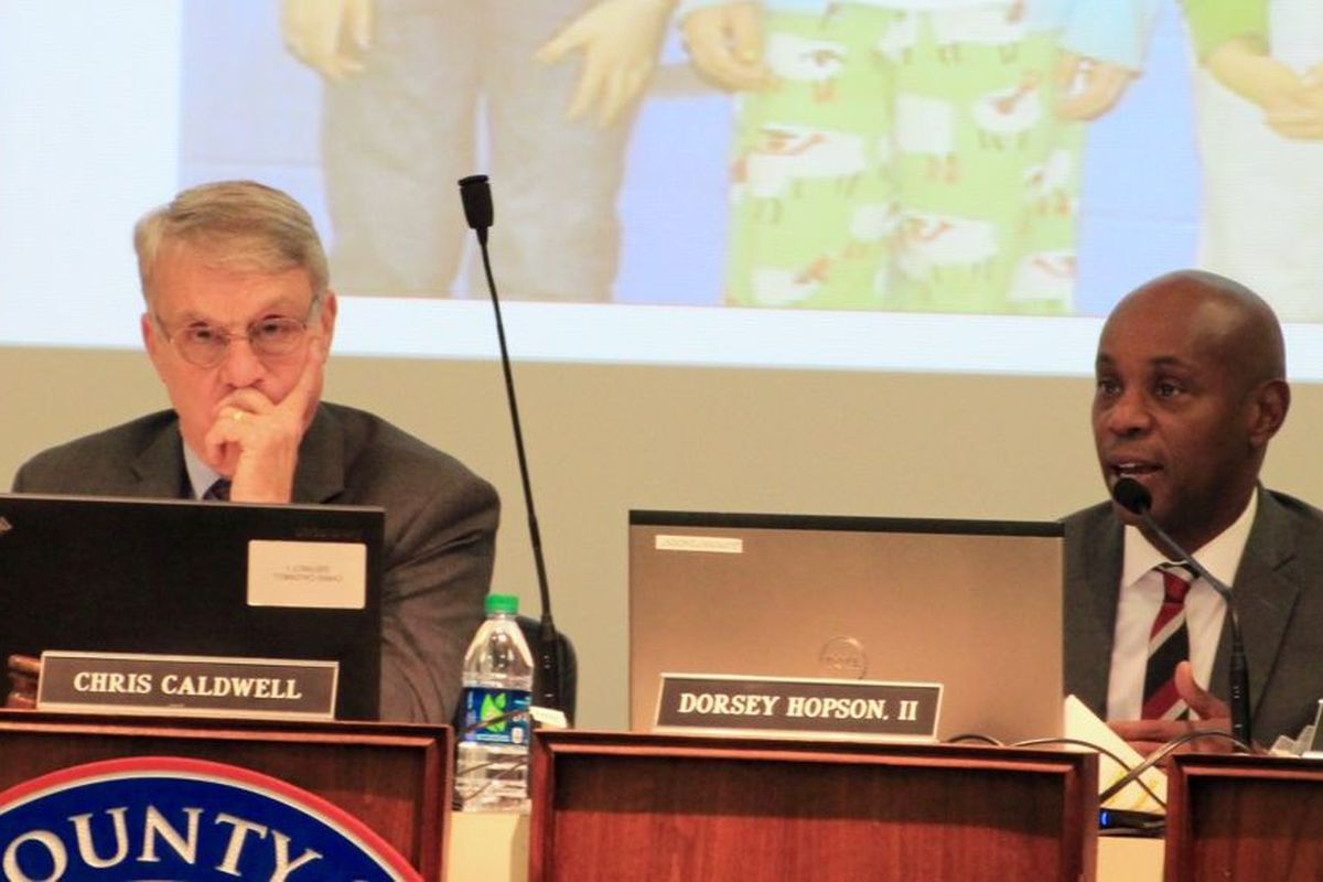 From left: Shelby County Board of Education Chairman Chris Caldwell and Superintendent Dorsey Hopson