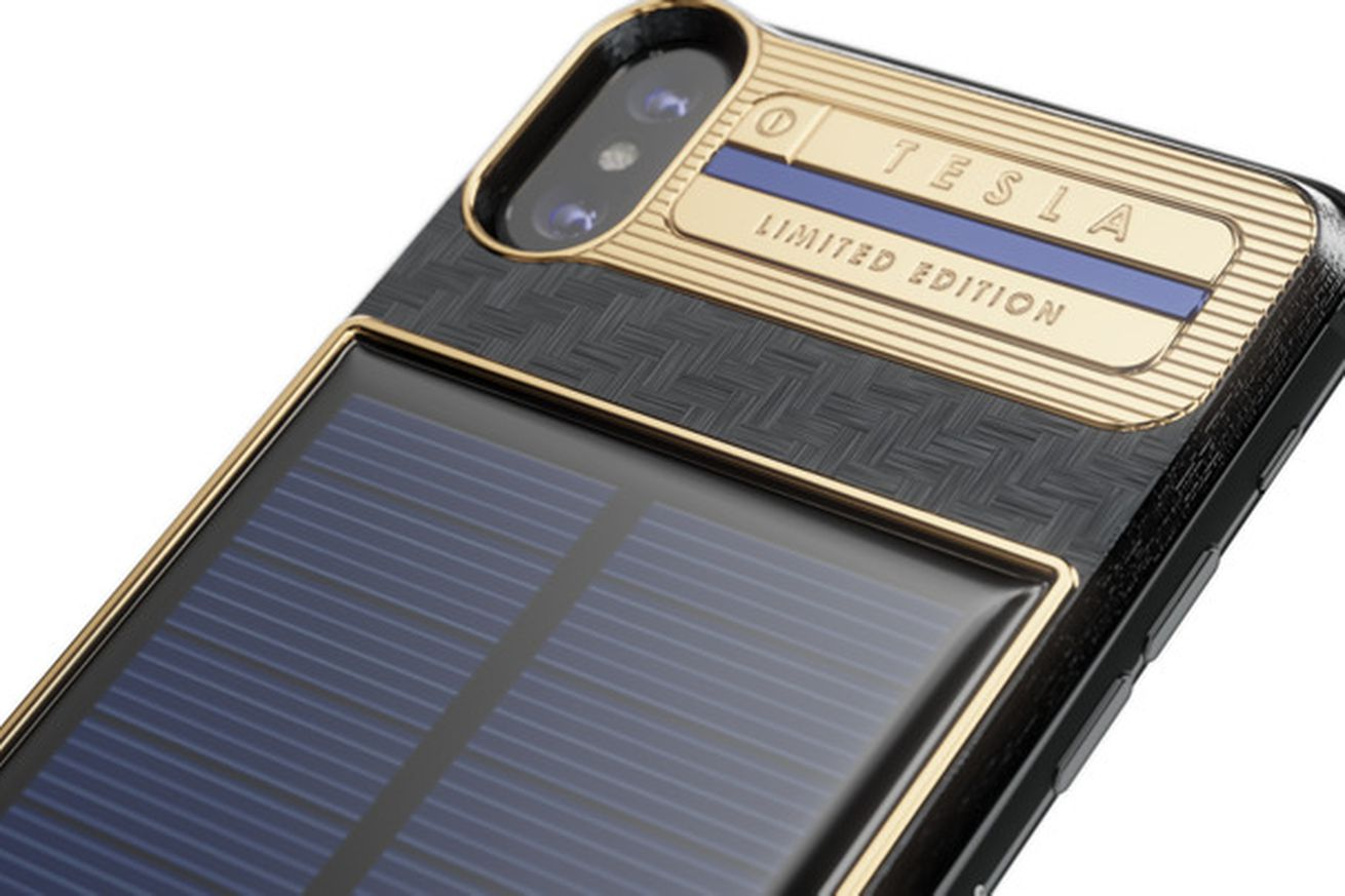here s a 4 500 iphone x with a solar charger on the back