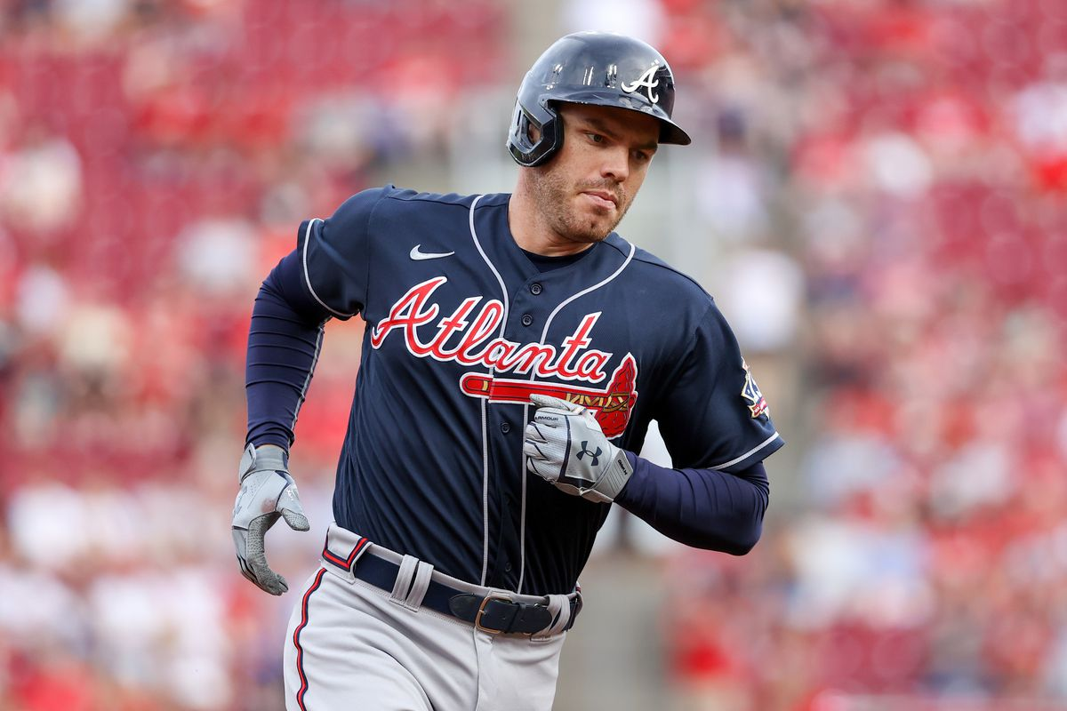 Freddie Freeman #5 of the Atlanta Braves rounds the bases after hitting a home run in the first inning against the Cincinnati Reds at Great American Ball Park on June 24, 2021 in Cincinnati, Ohio.