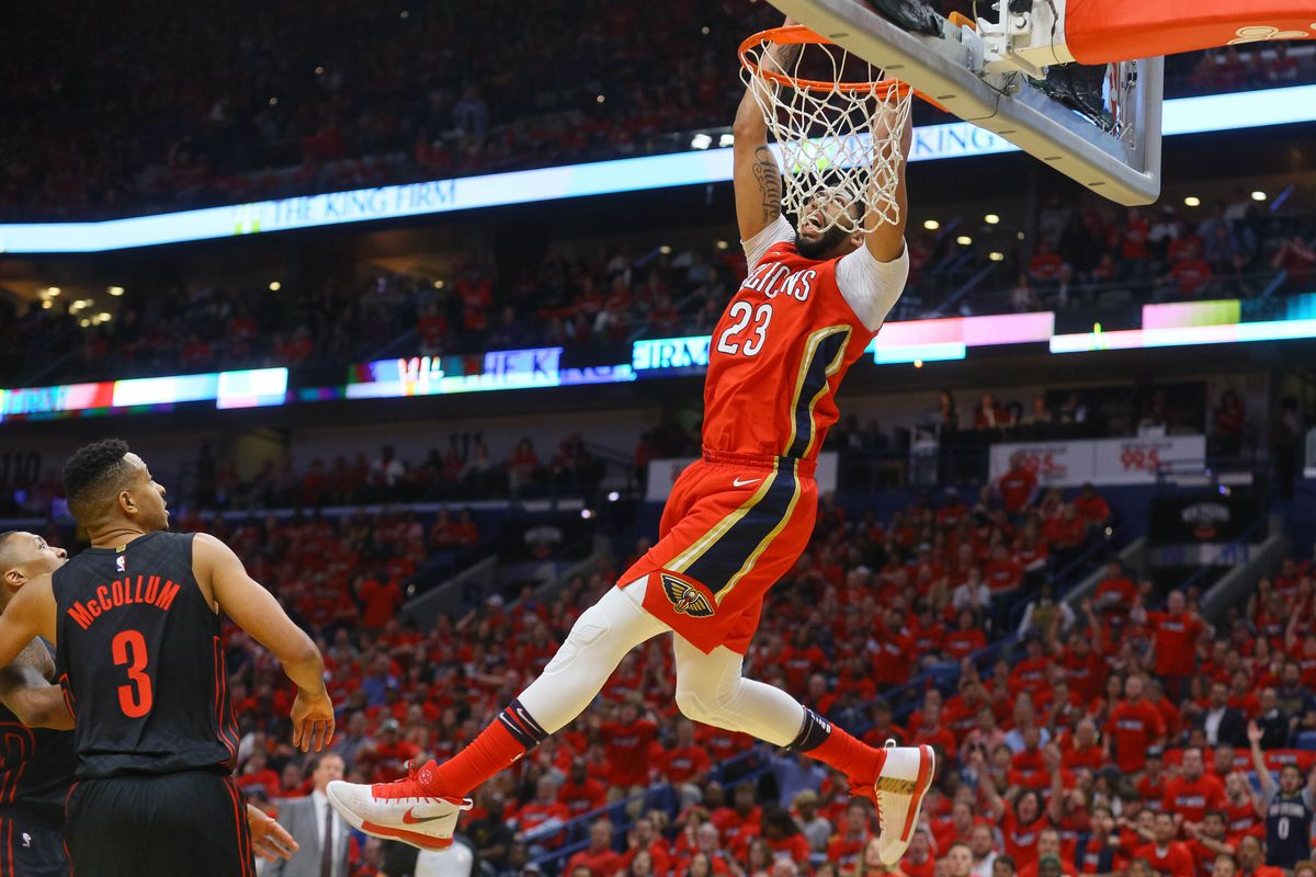 NEW ORLEANS, LA - New Orleans Pelicans forward Anthony Davis (23) dunks against the  Portland Trail Blazers during the first quarter in game three of the  first round of the 2018 NBA Playoffs at the Smoothie King Center.
