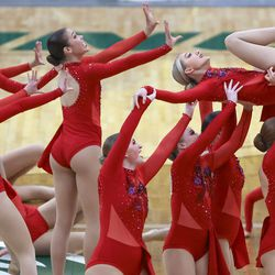 Brighton competes in the dance category of the 5A state drill team finals at the UCCU Center in Orem on Thursday, Feb. 4, 2021. Other categories are military and show.