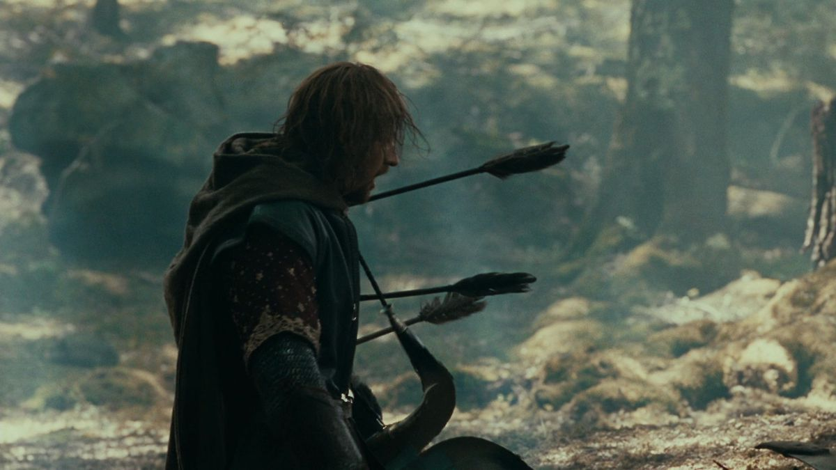 Boromir, skewered with huge arrows, in The Fellowship of the Ring