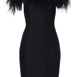 FEATHER OFF SHOULDER COCKTAIL DRESS, $260