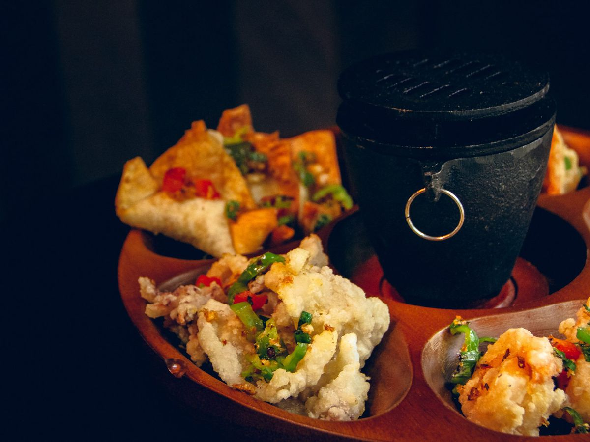 A variety of snacks appear on a late-night pupu platter at Fuji at Ink Block