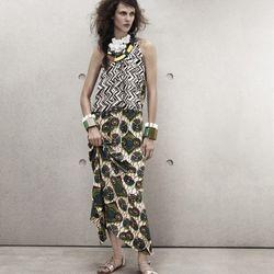 Silk dress, $129; Necklaces, $39.95 each; Bracelets, $19.95 each; Sandals, $59.95