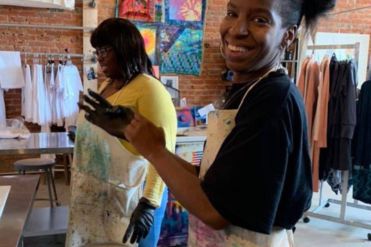 Rosey Lyons at an art-focused training for teachers at Children of the Rising Sun Empowerment Center.