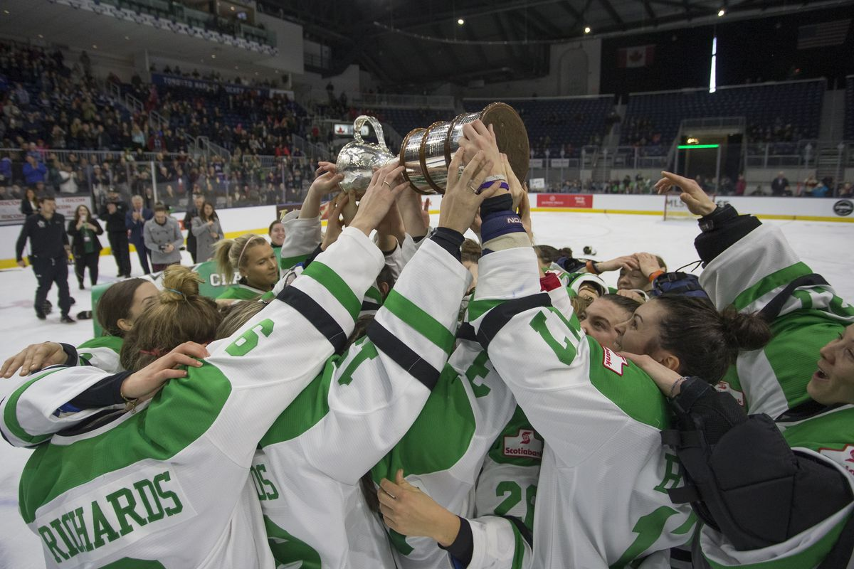 The Markham Thunder celebrate after winning the Clarkson Cup final by a score of 2-1 over Kunlun Red Star in overtime at Ricoh Coliseum. March 25, 2018