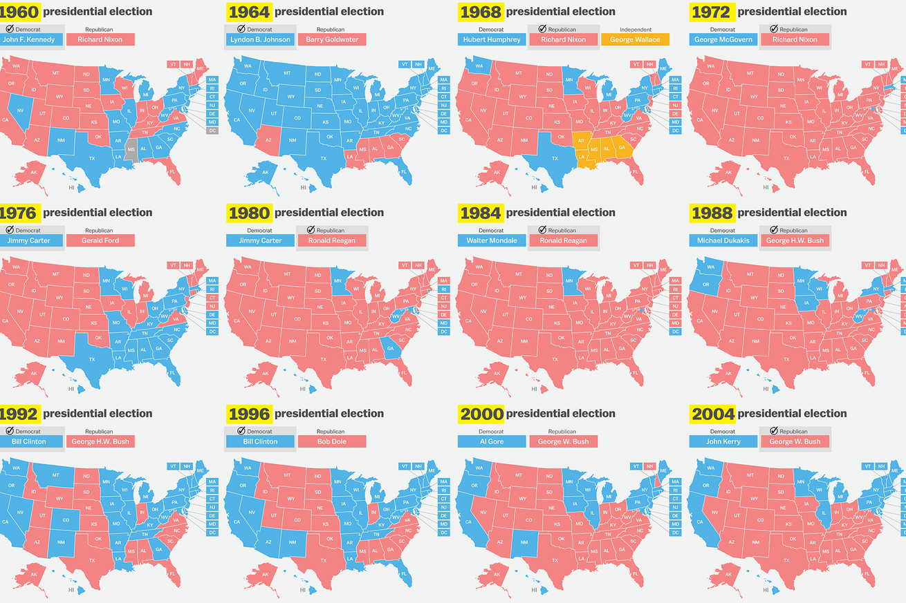 How Has Your State Voted In The Past Elections Vox - 1992 election us map