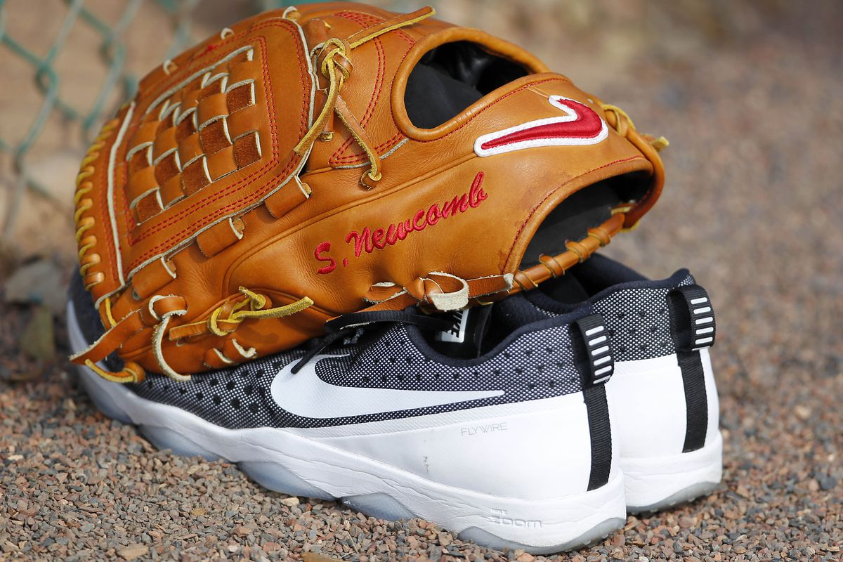 Sean Newcomb's personalized glove, and apparently non-personalized shoes.