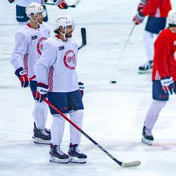 The Capitals take the ice for their morning skate.