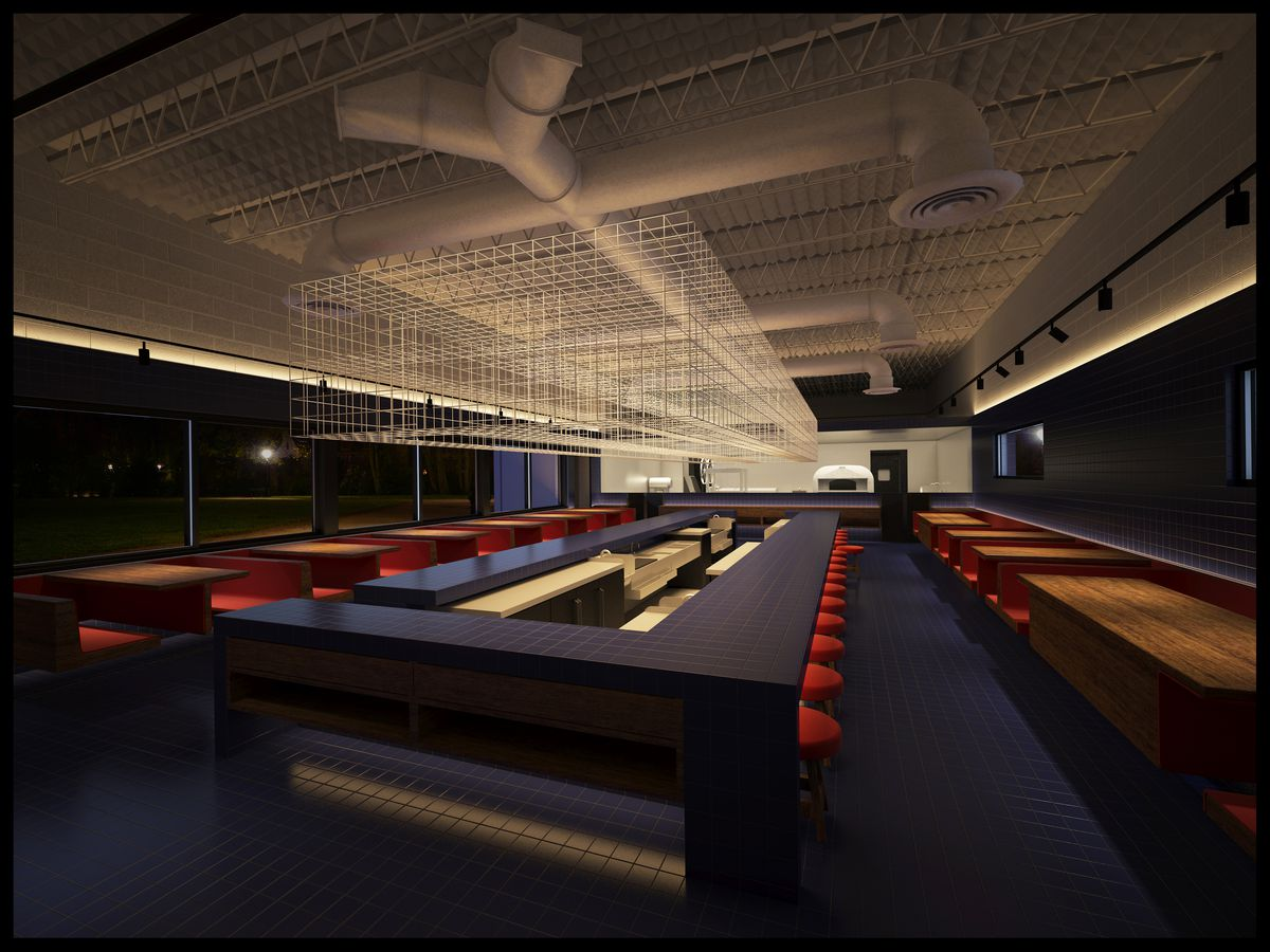 A rendering of a restaurant with a dark blue tiled, rectangular bar and floors with booths along the sides and red chairs.