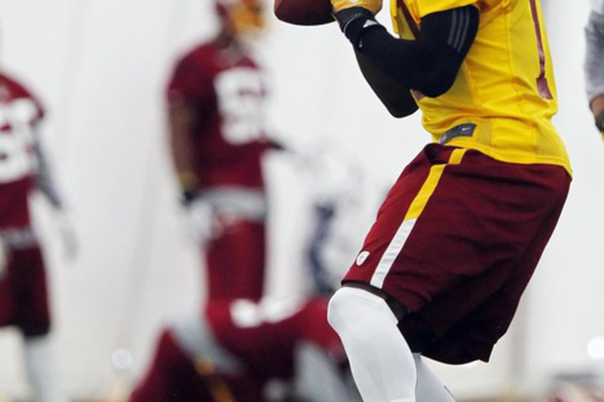 May 21, 2012; Ashburn, VA, USA; Washington Redskins quarterback Robert Griffin III (10) prepares to throw the ball during organized team activities at Redskins Park. Mandatory Credit: Geoff Burke-US PRESSWIRE