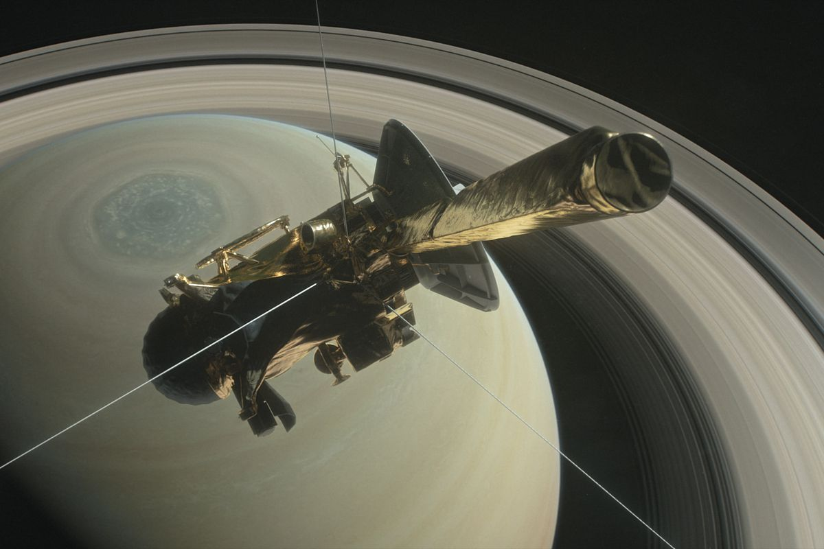 Nasas cassini spacecraft is about to plunge between saturn and an artistic rendering of cassini at saturn nasa thecheapjerseys Choice Image