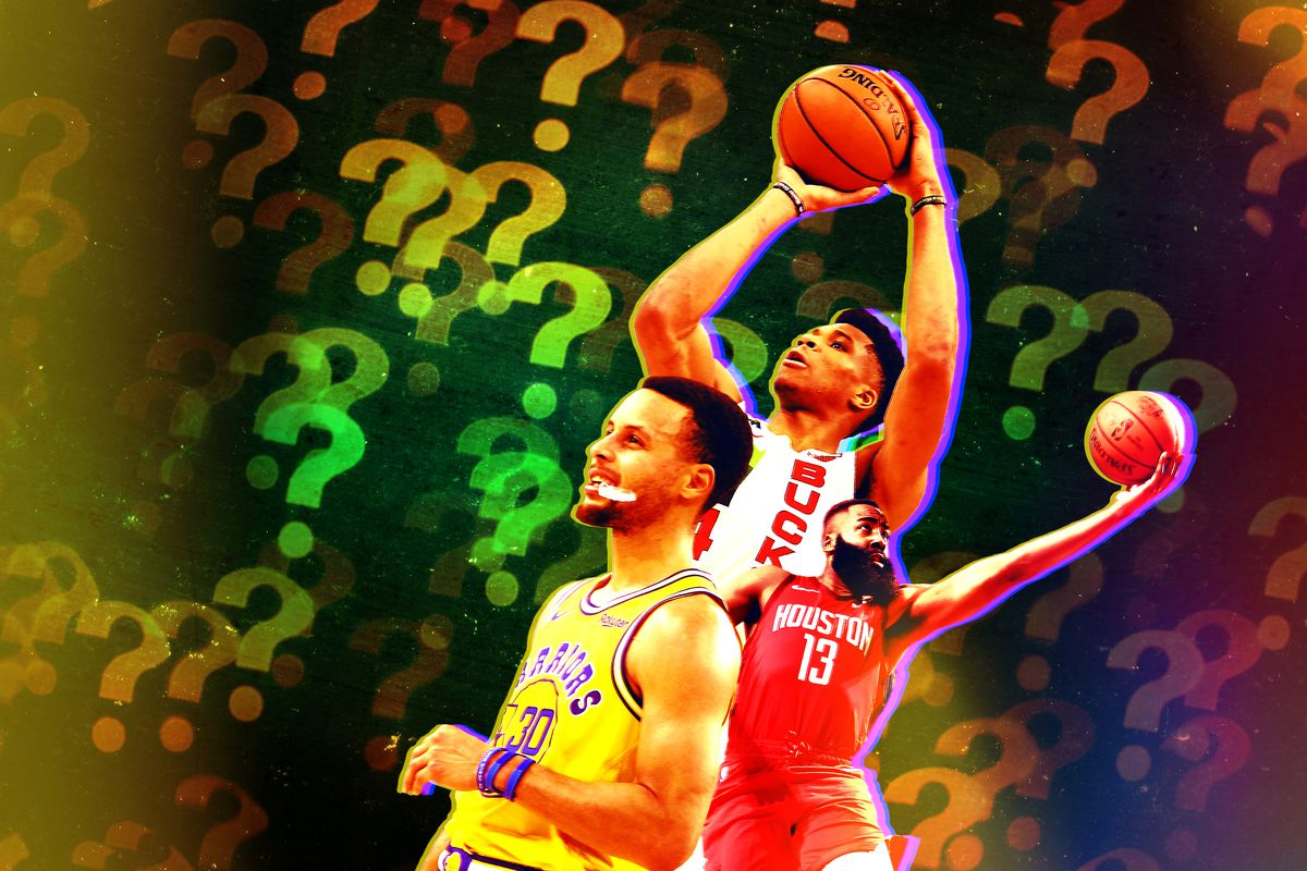 Question marks surrounding Steph Curry, Giannis Antetokounmpo, and James Harden