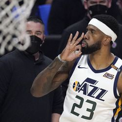 Utah Jazz forward Royce O'Neale gestures after hitting a three-point shot during the first half in Game 6 of a second-round NBA basketball playoff series against the Los Angeles Clippers Friday, June 18, 2021, in Los Angeles.