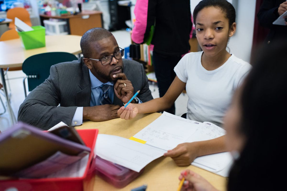 Antwan Wilson visits a fifth grade math class at the Brightwood Education Campus in Washington on his first day as D.C. schools chancellor. (Photo by Sarah L. Voisin/The Washington Post via Getty Images)