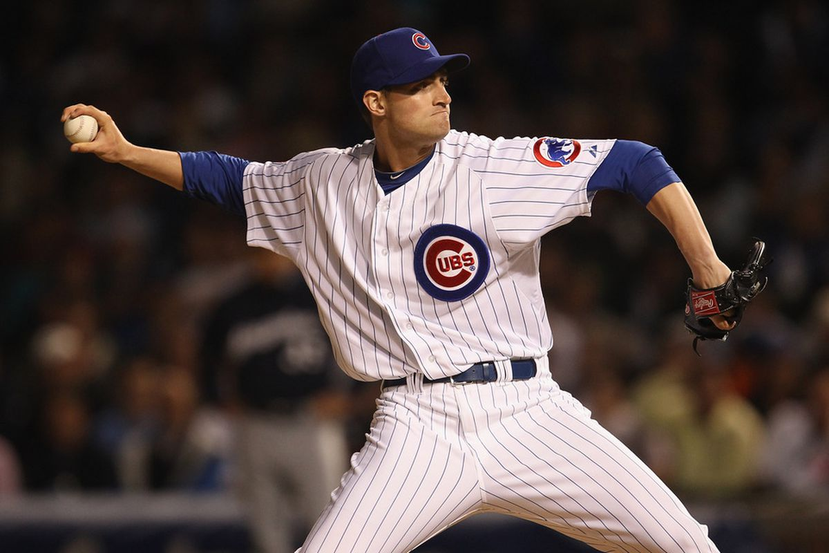 Chris Carpenter of the Chicago Cubs, making his Major League debut, pitches against the Milwaukee Brewers at Wrigley Field in Chicago, Illinois. (Photo by Jonathan Daniel/Getty Images)