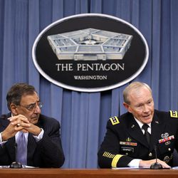 Defense Secretary Leon Panetta, left, and Joint Chiefs Chairman Gen. Martin Dempsey, participate in a news conference at the Pentagon, Thursday, Sept. 27, 2012.