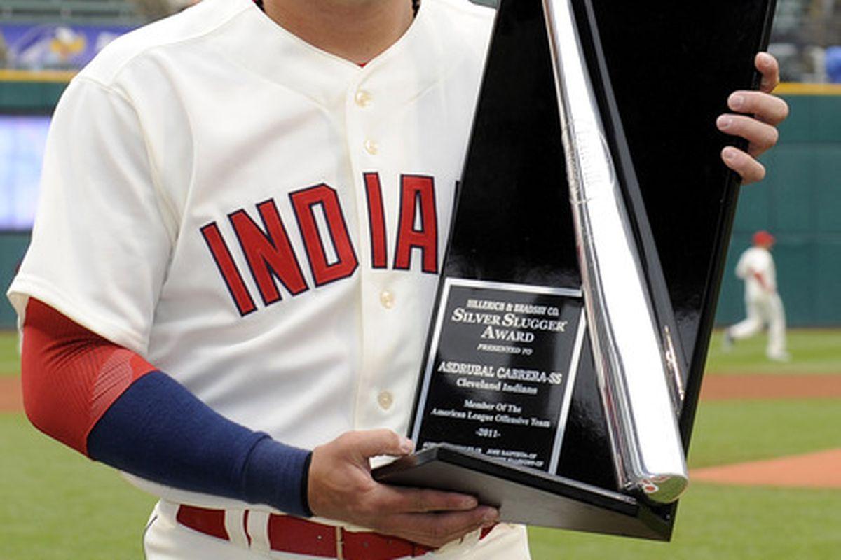 Asdrubal Cabrera got his 2011 Silver Slugger award before today's game.
