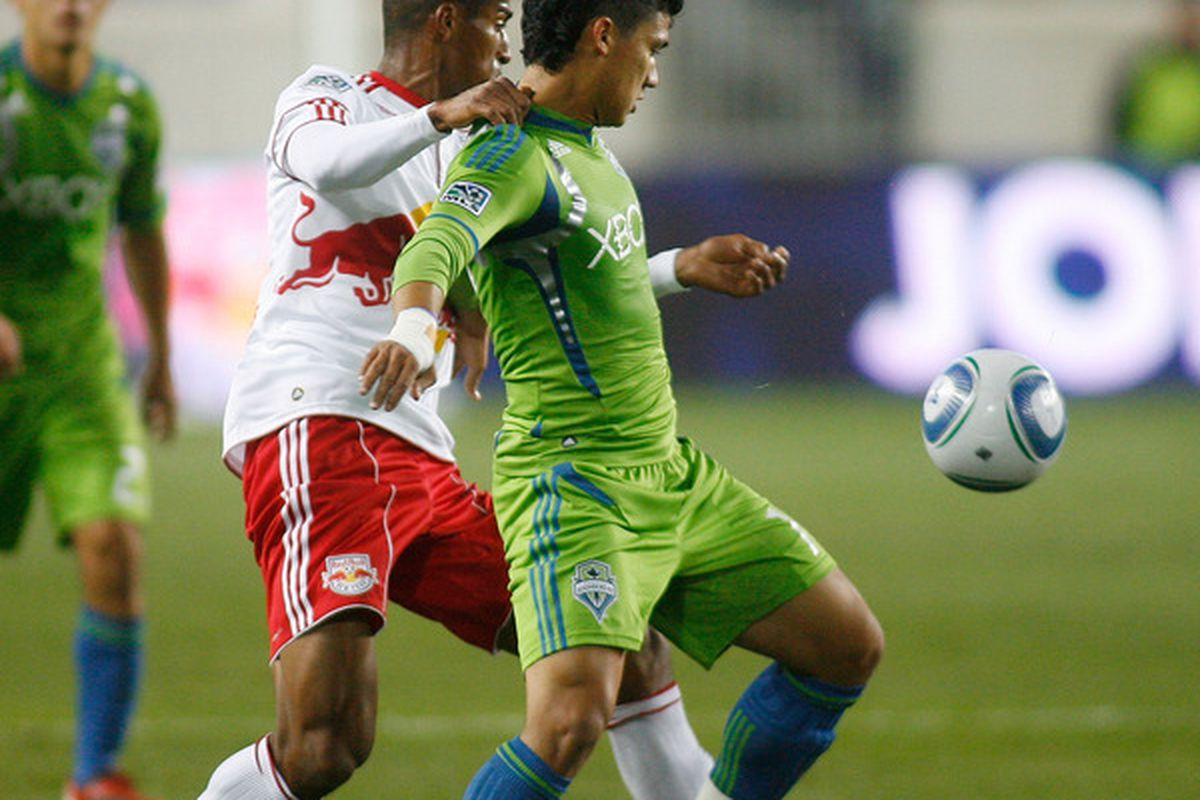 Fredy Montero will undergo wrist surgery and is being called questionable for Saturday's Seattle Sounders match against the San Jose Earthquakes. (Photo by Andy Marlin/Getty Images)