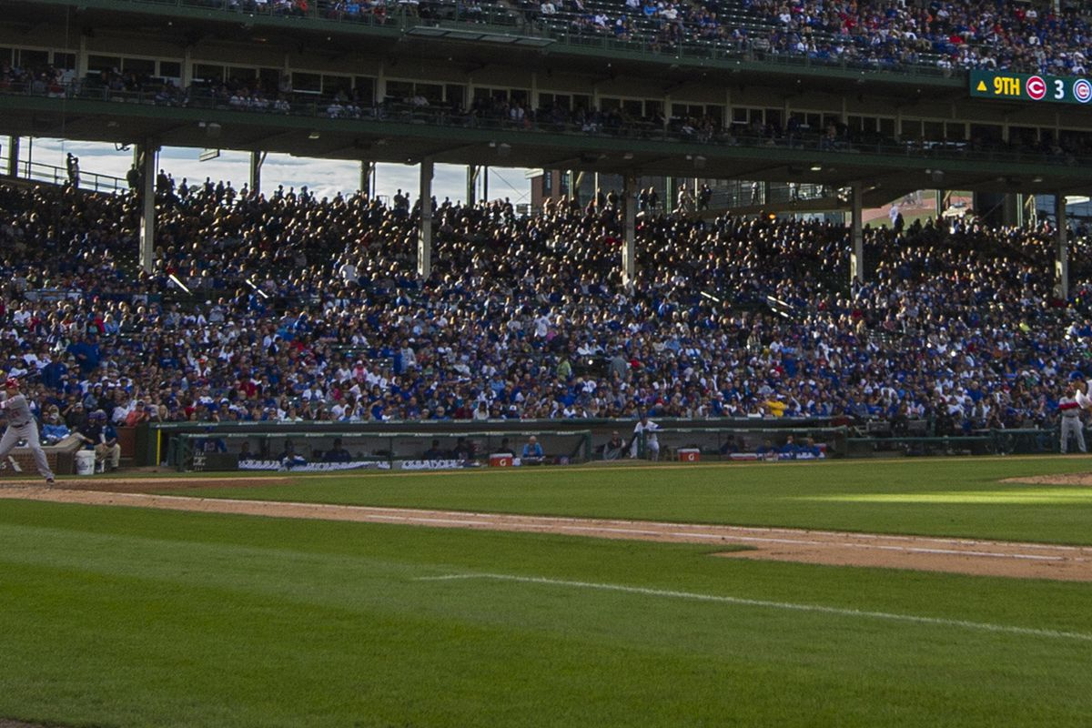 Oct 1, 2017; Chicago, IL, USA; A general view during a game between the Chicago Cubs and the Cincinnati Reds at Wrigley Field. Mandatory Credit: Patrick Gorski-USA TODAY Sports