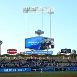 Dodgers pay tribute with a moment of silence prior to their game against the Rockies at Dodger Stadium on June 16, 2014