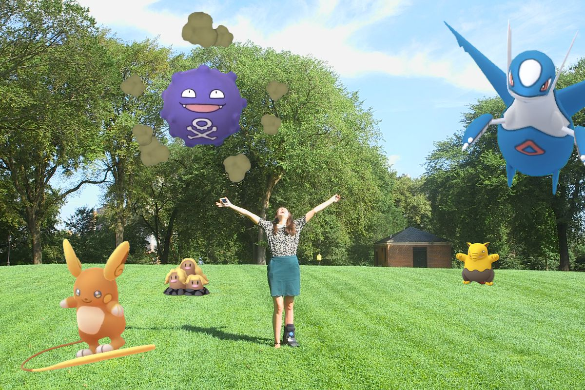 Simone is standing in the center of a grassy field under a bright blue sky. She flings out her arms and shouts to the high heavens. Around her, four Pokemon are chilling: a Koffing and a Latios float above her, there is an Alolan Dugtrio rocking out to he