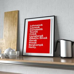 """<a class=""""ql-link"""" href=""""https://www.etsy.com/listing/768800038/arsenal-invincibles-football-print-gift?ga_order=most_relevant&ga_search_type=all&ga_view_type=gallery&ga_search_query=arsenal+gifts&ref=sr_gallery-10-32"""" target=""""_blank"""">Invincibles lineup print</a>. We've reached the Invincibles nostalgia portion of the gallery. For the Gooner who loves to remember the good times. From <a class=""""ql-link"""" href=""""https://www.etsy.com/shop/QuotedStore?ref=simple-shop-header-name&listing_id=768800038"""" target=""""_blank"""">QuotedStore</a>."""