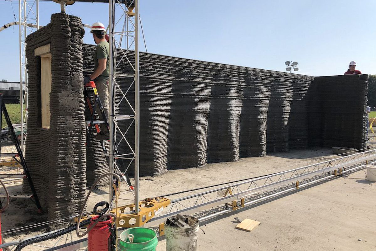 Concrete wall being built