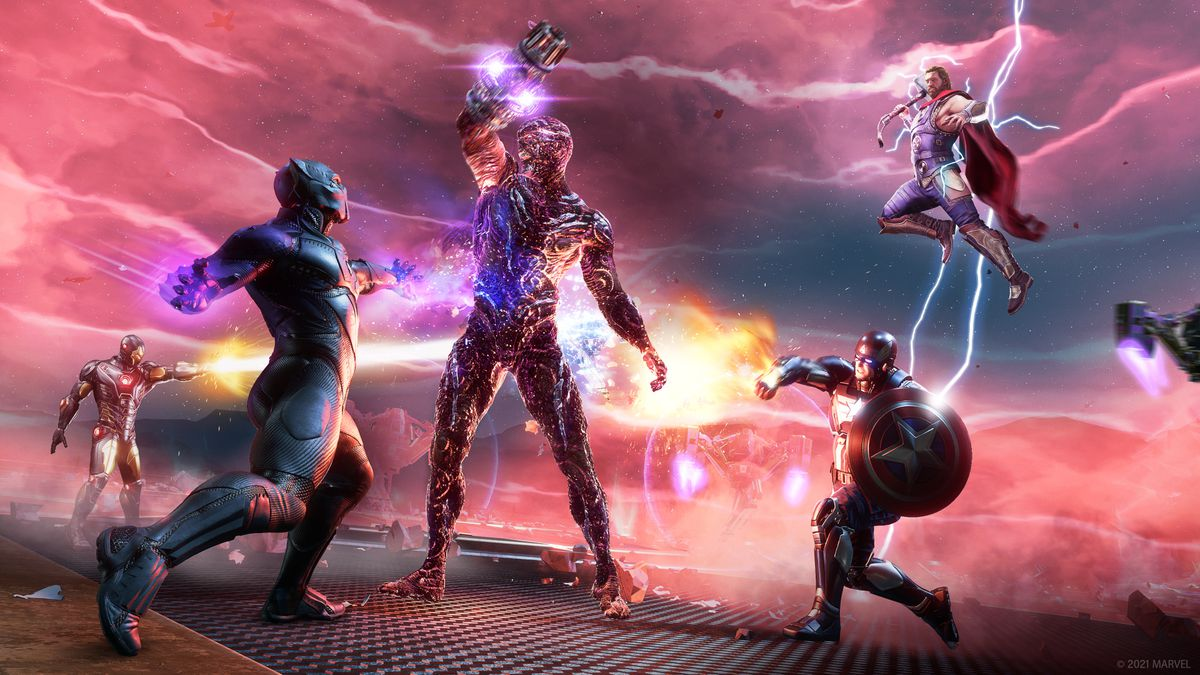 Black Panther, Iron Man, Captain America, and Thor fight Klaw in Marvel's Avengers: War for Wakanda