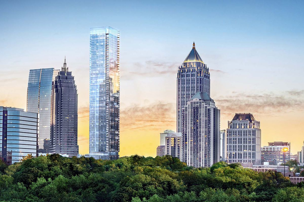 Developers expect the shimmering glass edifice, as seen here in a rendering from the north, to finish in two years.