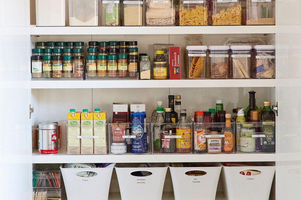Shelves of pantry goods.
