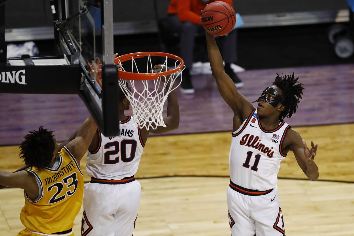 Illinois Fighting Illini guard Ayo Dosunmu (11) grabs a rebound against the Drexel Dragons during the first round of the 2021 NCAA Tournament at Indiana Farmers Coliseum.