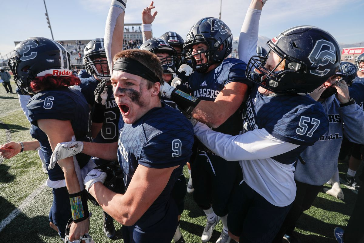Lone Peak and Corner Canyon compete in a 6A football state championship game at Cedar Valley High School in Eagle Mountain on Friday, Nov. 20, 2020.Corner Canyon won the game.