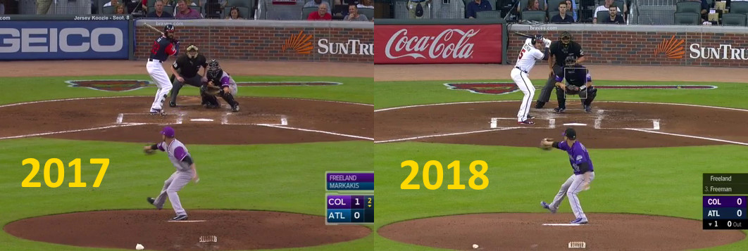 Side-by-side images showing Kyle Freelance pitching in 2017 and 2018