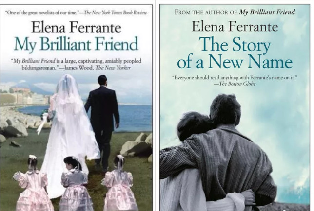 Covers of Elena Ferrante's novels