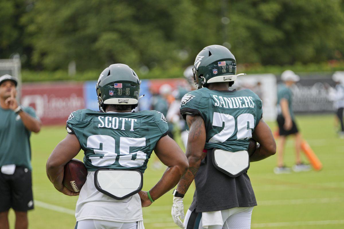 Boston Scott and Miles Sanders at training camp.