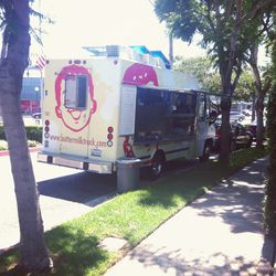 Shoppers satiated with Buttermilk Truck's signature red velvet chocolate chip pancakes