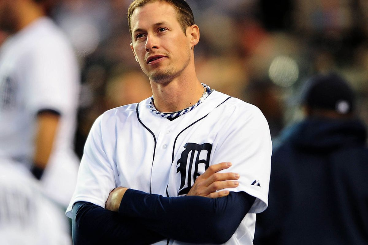 May 16, 2012; Detroit, MI, USA; Detroit Tigers third baseman Don Kelly (32) against the Minnesota Twins at Comerica Park. Mandatory Credit: Andrew Weber-US PRESSWIRE