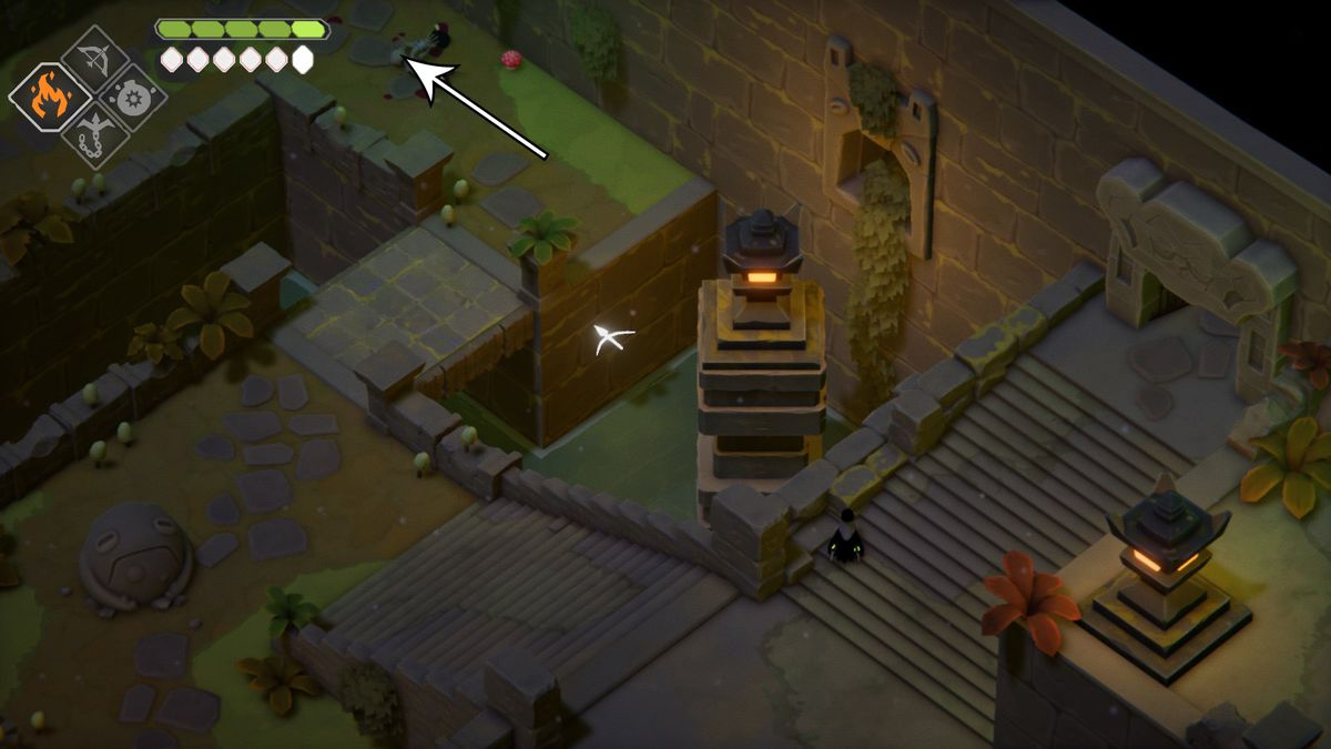 A crow in the Mushroom Dungeon. An arrow directs the crow northwest.